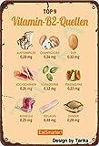 Vitamina B2 Quellen Eat Smarter Tin Look Retro 20 x 30 cm Decoración Cartel para el hogar, cocina, baño, granja, jardín, garaje, citas inspiradoras Decoración de pared