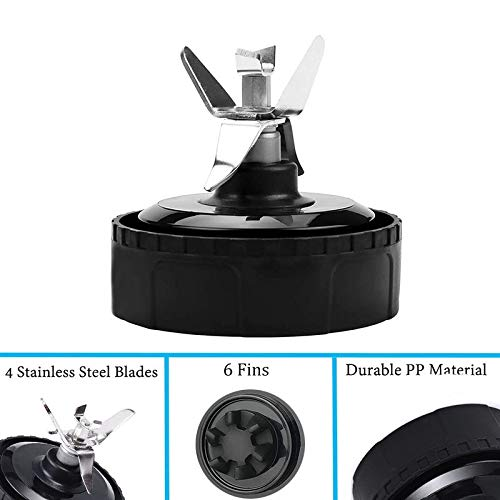 For Blender Replacement Parts 6 Fins for Ninja Pro Extractor Blade 16 oz Cup Fit For Nutri Ninja BL660 1100w, Ninja BL610 1000w, Ninjia BL770 1500w, BL780CO L663 BL663CO BL665Q BL740 BL773CO BL780