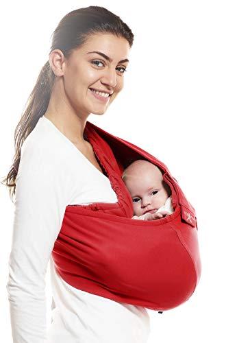 Wallaboo Baby Tragetuch Connection, 100% Baumwolle, Passt sich der Form Ihres Baby genau an, Atmungsaktiv, Weich, Ergonomische Babytragetuch, Für Neugeborene und Babys bis 15 kg, Farbe: Rot