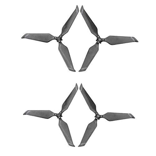 jfhrfged 4 Stück Faltbare Propeller aus Carbonfaser 8743 Rumore 3 Flügel für DJI Mavic 2 PRO/Zoom Schwarz