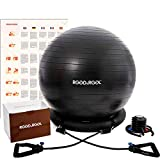 RGGD&RGGL Exercise Ball Chair(55-75cm), Extra Thick Yoga Ball with Adjustable Resistance Bands, Stability Ring, Workout Guide,Anti-Burst Balance Ball for Workout and Fitness (Black, 75cm)