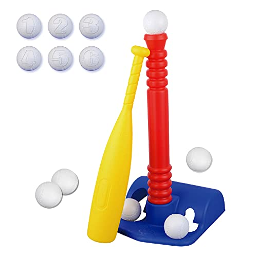 ToyVelt TBall Set For Toddlers With 6 Balls Kids Baseball Tee Game For Boys & Girls Ages 1- 10 Years