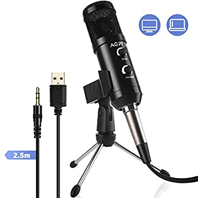 AGPTEK PC Microphone, Professional Condenser Microphone with Echo & Volume Control, Mic Stand, 3.5mm & USB Jack, Plug and Play for Computer Laptop Mac Streaming Recording Game Singing YouTube Skype