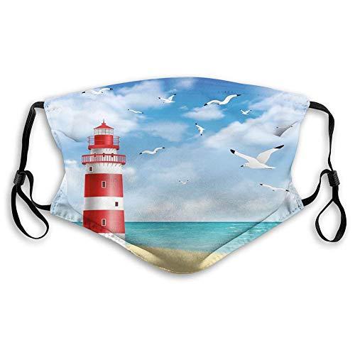 Jotaro Strand, realistische Illustration Leuchtturm auf ruhiger Küste Fliegende Möwen Ozean Landschaft, Vermilion Blue Waschbare Halbgesicht Scarf für Männer Frauen Jungen Mädchen,20x15cm