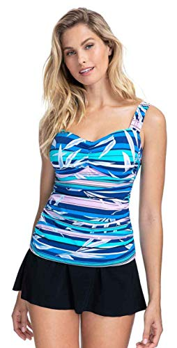 Profile by Gottex Sweetheart Cup Sized Tankini Top Swimsuit Haut, Palm Beach Multi Blue, 90D Femme