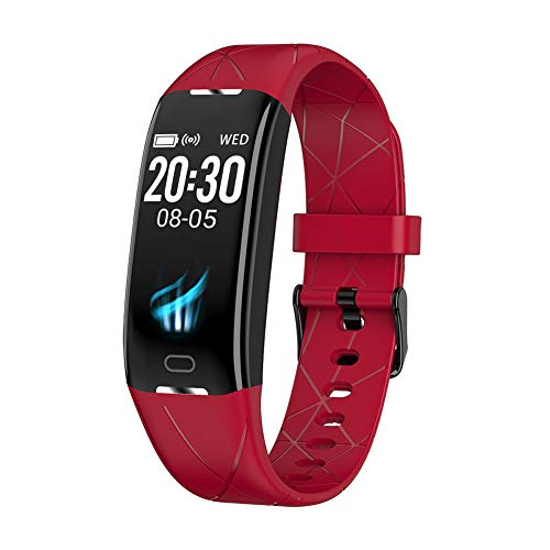 GXFNS Fitness Tracker Best Health Bracelet 24H Real-Time Accurat Heart Rate Monitor Blood Pressure Smart Band Watch to iOS Android,Red