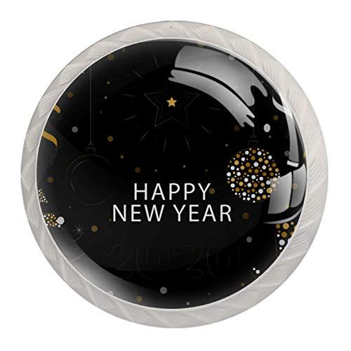 4 pomos blancos para armarios de cocina, dormitorio, armario, cómoda, cajones, feliz año nuevo 2020-01