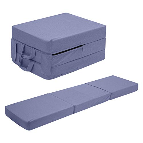UTZ Fold Out Foam Guest Z Bed Single Chair Folding Mattress Sofabed Futon Chairbed Z Bed Blue Grey