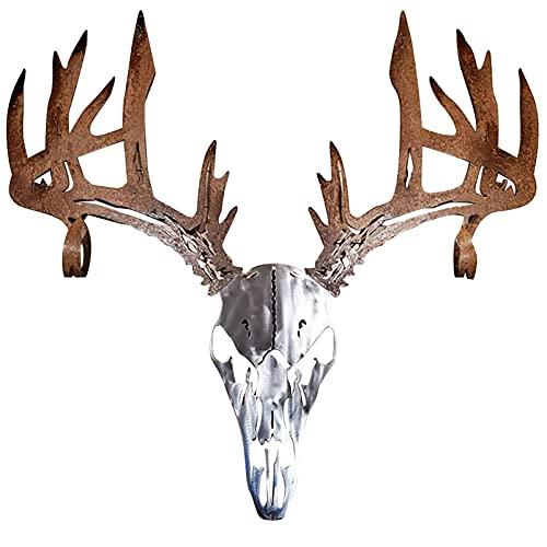 MENGFEI Arco de calavera de ciervo de metal o estante de escopeta, estilo compuesto de caza con arco, marco de exhibición de pie, estante de escopeta de metal de alce fácil de montar decoració