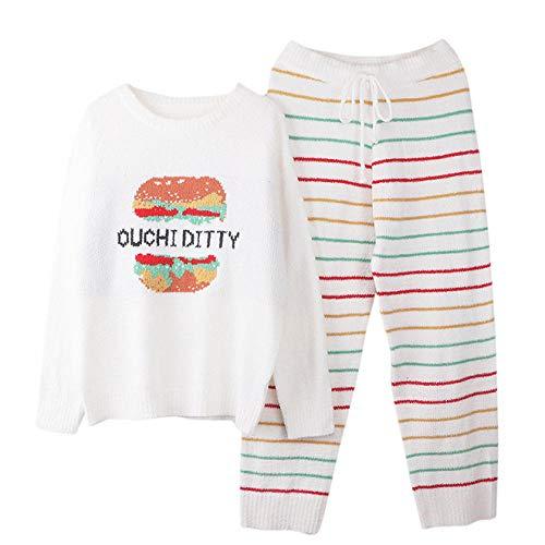 Waofe Otoño e Invierno Nuevo Pijama Suave para Mujer,