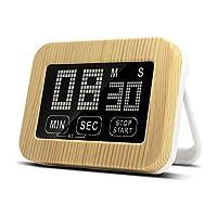 キッチンタイマータッチスクリーンタイマー、LCDディスプレイ、ラウドアラーム付きレトロな木目明るい磁気裏面デジタルキッチン用タイマー