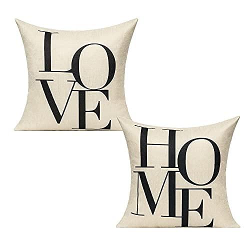 All Smiles Amor Hogar Funda de Almohada y Cojín Decorativa Familia como Carta Símbolo Impreso Poliéster Lino 50X50CM, Love&Home
