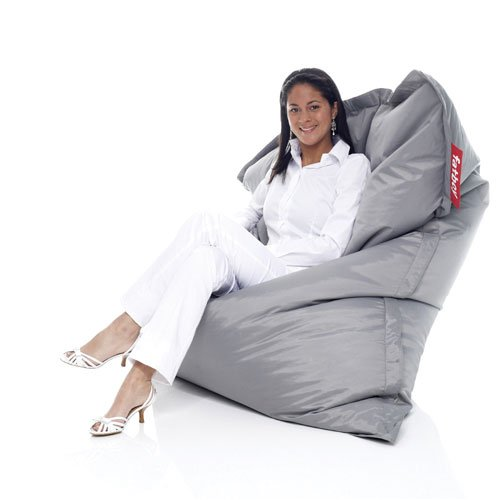 Fatboy® Original lichtgrau Nylon-Sitzsack| Klassischer Indoor Beanbag, Sitzkissen | 180 x 140 cm
