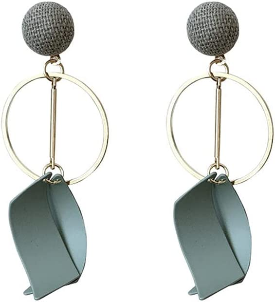 ZSHGCH Earring Ear Studs Earring Ear Studs Temperament Round Circel Clip Earrings Metal Green Long Curved Geometric Round Clip On Earring Without Piercing Women