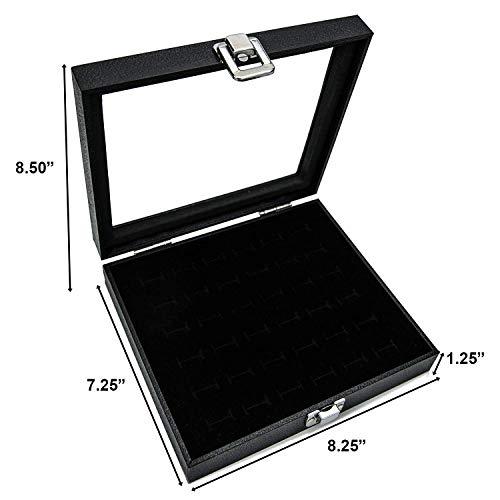 Huji Glass Top Ring Display Showcase with Velvet Insert Liner Jewelry Organizer (1 Pack, 36 Slot Case)