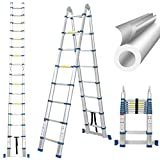 16.5 Ft Telescoping Ladder, Extension Ladder, A-Frame Portable Folding...