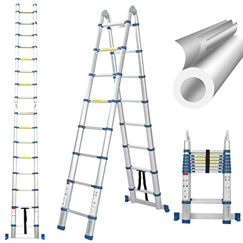165 Ft Telescoping Ladder Extension Ladder AFrame Portable Folding Ladder Aluminium Lightweight 330lb Load Capacity with Support Bar AntiSlip