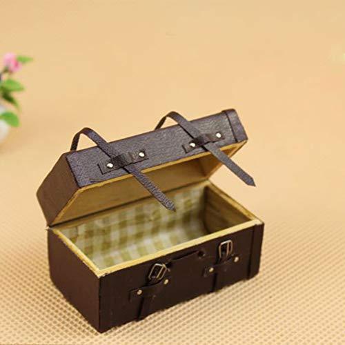 Ruby569y DIY-Puppenhauszubehör, Mini-Koffer im Maßstab 1:12, Miniatur-Vintage-Koffer aus Holz und Kunstleder, braun