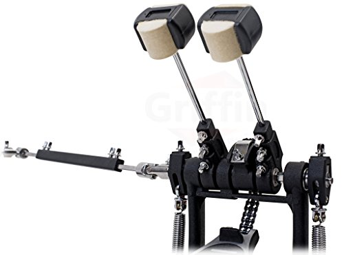 Deluxe Double Kick Drum Pedal for Bass Drum by GRIFFIN | Twin Set Foot Pedal |...