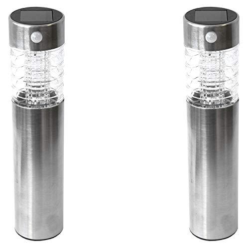 2 Stück Edelstahl LED Solarlampe mit Erdspieß, Bewegungssensor, Leuchtkörper aus Glas, Gartenleuchte mit Bewegungsmelder H39cm Solarleuchten Gartenlampe Wegbeleuchtung