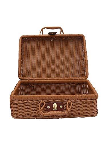 Kaikai Maleta Vintage Tejido de ratán Cesta de Almacenamiento Caja de Almacenamiento Tejido Mimbre Ratán Picnic Lavandería Cestas Almacenamiento