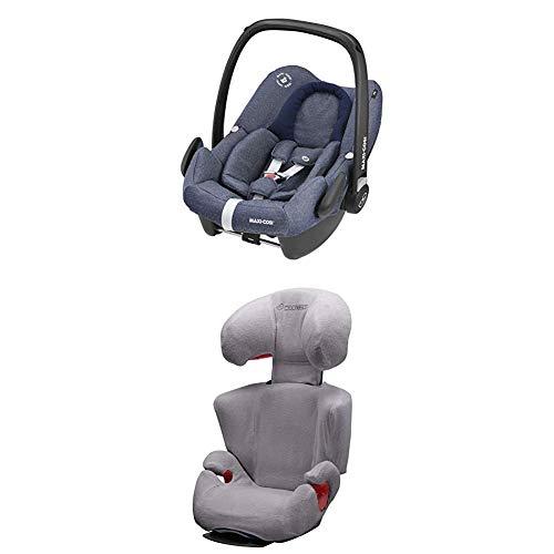 Maxi-Cosi Rodi XP Fix, Kinderautositz Gruppe 2/3 mit Isofix - Hazelnut Brown, schwarz + Sommerbezug für Kindersitz Rodi AirProtect und Rodi XP, cool grey