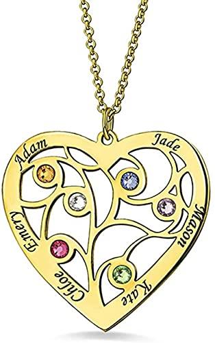 Hrozyho Collar de corazón de árbol de rama familiar personalizado hecho con nombre personalizado grabado con piedras de nacimiento Regalo de joyería para el día de la madre (plata de ley 925) oro