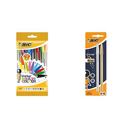 BIC Cristal Multicolour bolígrafos Punta Ancha (1,6 mm) – colores Surtidos, Blíster de 10 unidades + Cristal Shine bolígrafos punta media (1,0 mm) Cuerpo y colores Surtidos, Blíster de 2 unidades
