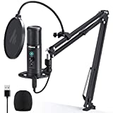 USB Microphone Zero Latency Monitoring MAONO AU-PM422 192KHZ/24BIT Professional Cardioid Condenser Mic with Touch Mute Button and Mic Gain Knob for Recording, Podcasting, Gaming, YouTube