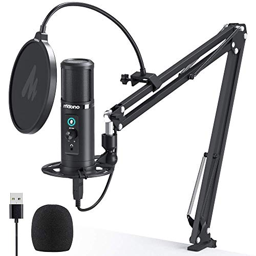 USB Microphone with Zero Latency Monitoring MAONO AU-PM422 192KHZ/24BIT Professional Cardioid Condenser Mic with Touch Mute Button and Mic Gain Knob for Recording, Podcasting, Gaming, YouTube