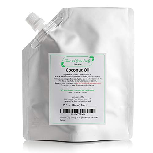 Refined Pure Coconut Oil (15 Oz)   DIY Skin Care Products, Lip Gloss, Face Mask, Hair Mask, Massage Oil, Shampoo Conditioner, Handmade Soap, and Hair Oil   Resealable Container