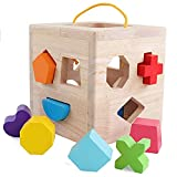 Wooden Shape Sorter Cube Toy with 12 Colorful Wood Geometric Shape Blocks and Carrying Strap Sorting Box Classic Wooden Developmental Learning Matching Gifts Classic Toys for Toddlers Baby Kids Age 3+