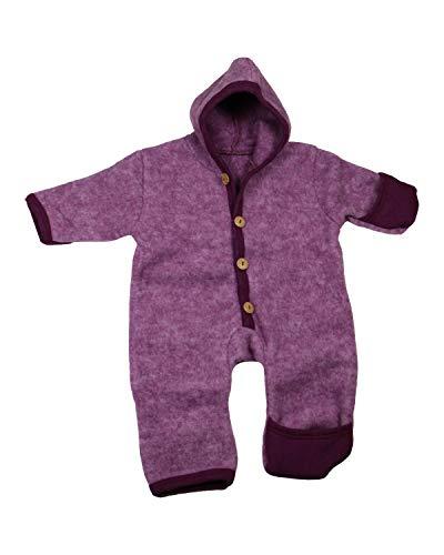 Cosilana Baby Fleece-Overall mit Kapuze, Kratzschutz kbT Wolle Bio Baumwolle (50-56, Weinrot-Melange)