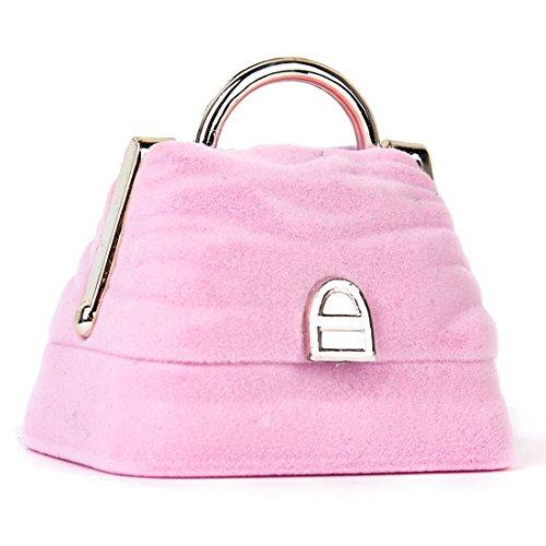 Tamkyo Caja de regalo con forma de bolso para anillos, caja de regalo de terciopelo rosa