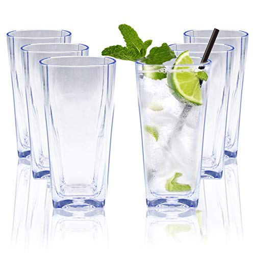 Ulable 12 Oz Reusable Clear Plastic Water Tumblers, Stackable Shatterproof Clear Drinking Glasses, Unbreakable Portable Cups, Dishwasher-Safe and BPA Free, Set of 6 (Transparent)