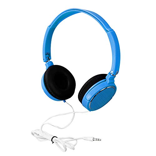 Marxways On-Ear-Kopfhörer mit Mikrofon, leichte tragbare Faltbare Stereo-Bass-Kinderkopfhörer 3,5-mm-Kabelanschluss-Kabelkopfhörer On Ear-Faltbare Stereo-Headsets für Earphon (Blau)