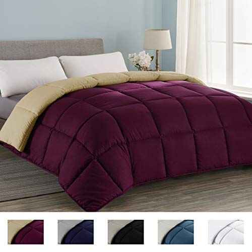Seward Park All Season Down Alternative Quilted Reversible Comforter, Hypoallergenic, Lightweight, Plush Microfiber Fill, Duvet Insert or Summer Comforter, Burgundy/Sand, Twin Size