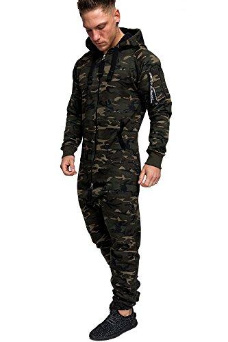 Amaci&Sons Herren Overall Jumpsuit Jogging Cargo-Style Onesie Trainingsanzug Camouflage 3006 Camouflage Khaki L
