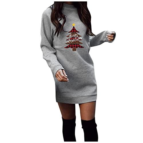 XUNN Vestido de Navidad para mujer, sudadera de manga larga, sexy, para fiestas, disfraz de Navidad, estampado de dibujos animados, informal, para otoño e invierno, #001-gris, L