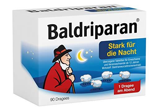 Baldriparan Stark für die Nacht, Pflanzliches Arzneimittel mit hochdosiertem Baldrianwurzel-Trockenextrakt, Bewährte Dragees bei nervös bedingten Schlafstörungen, 90 St.