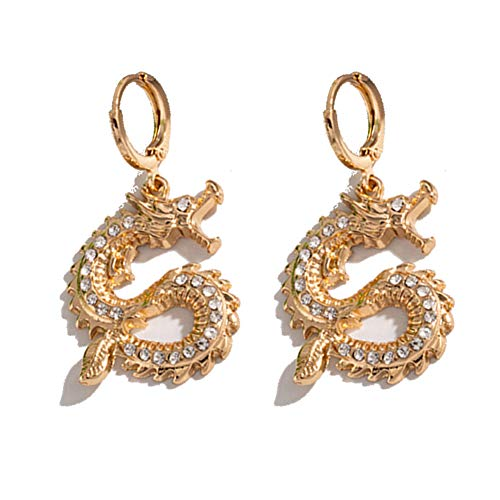 Dragon Dangle Earrings Exaggerated Chinese Dragon Small Hoop Earrings for Women Girls Hip Hop Party Jewelry Gifts
