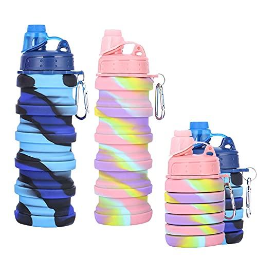 DMDIANZI Botella de Agua Plegable de 2 Piezas, Tazas de Agua Plegables de Silicona con Tinte Libre de BPA para Gimnasio, Viajes, Camping, Senderismo, Botellas de Agua Deportivas portátiles
