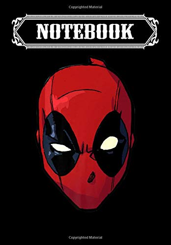Notebook: Marvel Deadpool Big Face Premium, Journal 6 x 9, 100 Page Blank Lined Paperback Journal/Notebook