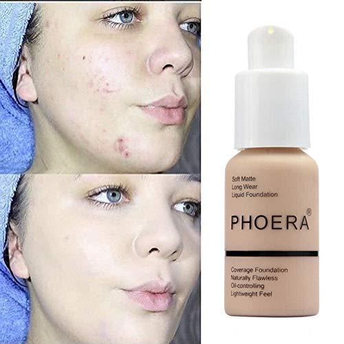 Base Líquida, maquillaje Base de maquillaje Cobertura completa Nuevo 30ml PHOERA 24HR Base de líquido corrector de control de aceite mate (102# Desnudo)