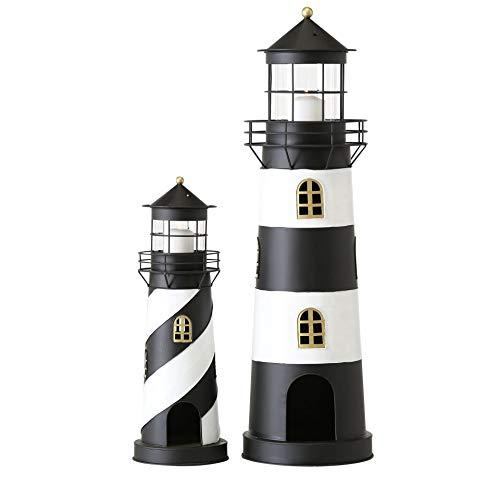 CasaJame Metall Laterne Windlicht 2er Set Sortiert Leuchtturm H 46-73 cm schwarz weiß Eisen