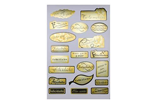 400 Pegatinas Felicidades doradas autoadhesivas para Cumpleaños, Santos, Comuñones, Bodas, Bautizos, Aniversarios, cualquier evento