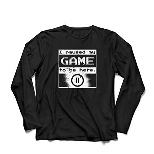 lepni.me Camiseta de Manga Larga para Hombre Pause mi Juego para Estar aquí Camiseta, Regalo Divertido del Videojugador (XX-Large Negro Multicolor)