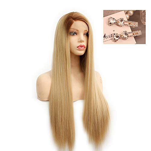 Wig Lace Front Synthetic, Jaune D'or Silky Long Straight Wigs Natural Looking Cosplay Wigs For Women Heat Resistant Fiber Hair Wigs
