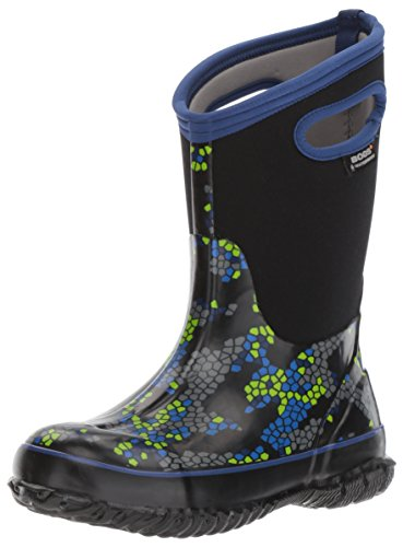 BOGS Kids' Classic High Waterproof Insulated Rubber Neoprene Rain Boot Snow, Axel Print - Black Multi, 2 M US Little Kid