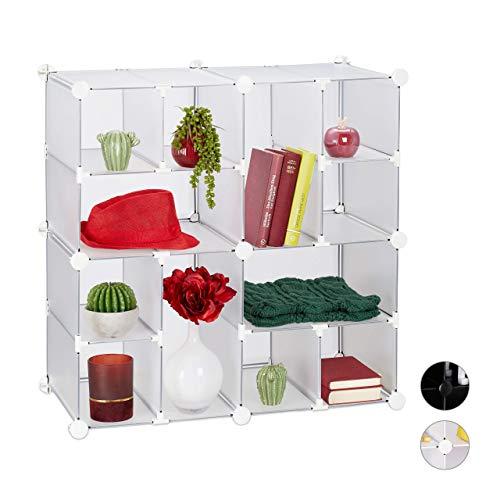 Relaxdays Steckregal 12 Fächer, offenes Steckregalsytem, aus Kunststoff, Regalsystem, HxBxT 75 x 75 x 37 cm, transparent, 1 Stück